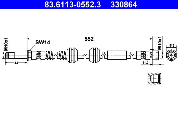 Brzdová hadica CONTINENTAL TEVES (ATE)