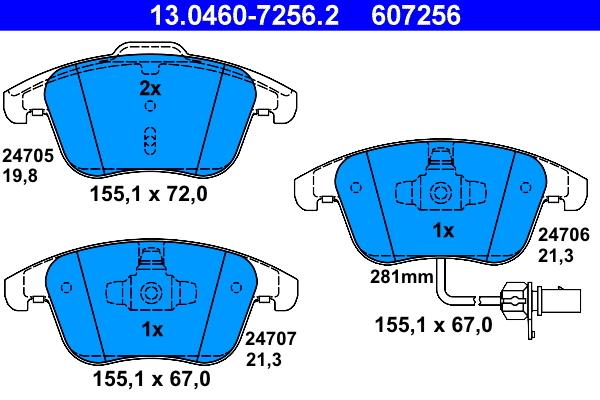 Sada brzdových platničiek kotúčovej brzdy CONTINENTAL TEVES (ATE)