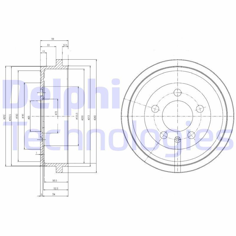 Brzdový bubon Delphi Technologies Aftermarket